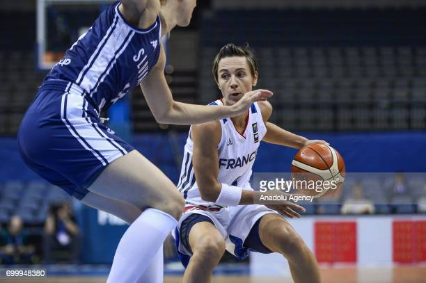 Celine Dumerc of France in action during the 2017 FIBA EuroBasket Women quarterfinals match between France and Slovakia at Prague Arena in Prague...