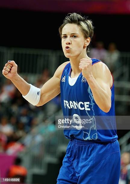 Celine Dumerc of France reacts during the first half against Brazil during Women's Basketball on Day 1 of the London 2012 Olympic Games at the...