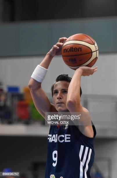 Celine Dumerc of France shoots to score during the FIBA EuroBasket women's basketball match Slovania v France on June 16 2017 in Prague Czech...