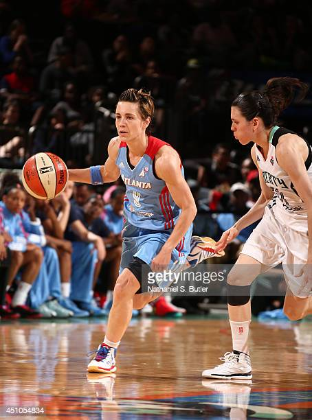 Celine Dumerc of the Atlanta Dream drives during a game against the New York Liberty at Madison Square Garden in New York City on June 21 2014 NOTE...