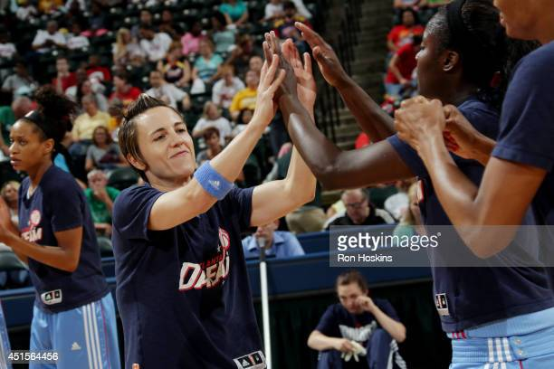 Celine Dumerc of the Atlanta Dream gets introduced before a game against the Indiana Fever on June 29 2014 at Bankers Life Fieldhouse in Indianapolis...