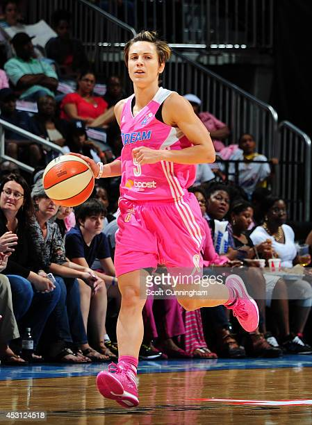 Celine Dumerc of the Atlanta Dream handles the ball against the New York Liberty on August 3 2014 at Philips Arena in Atlanta Georgia NOTE TO USER...