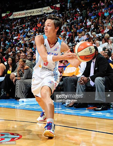 Celine Dumerc of the Atlanta Dream passes the ball against the Tulsa Shock on August 15 2014 at Philips Arena in Atlanta Georgia NOTE TO USER User...