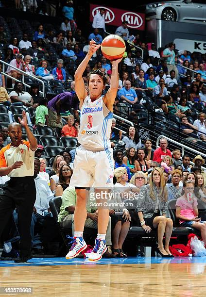 Celine Dumerc of the Atlanta Dream shoots the ball against the Phoenix Mercury on August 13 2014 at Philips Arena in Atlanta Georgia NOTE TO USER...