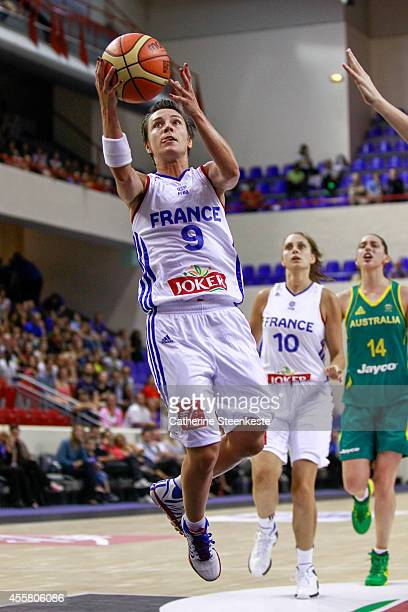 Celine Dumerc of the French Basketball Women's National Team is at the basket during the game between France and Australia at Stade Pierre de...