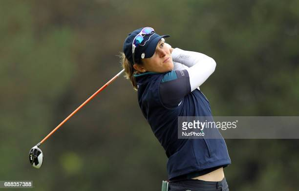 Celine Herbin of France tees off on the second tee during the first round of the LPGA Volvik Championship at Travis Pointe Country Club Ann Arbor MI...