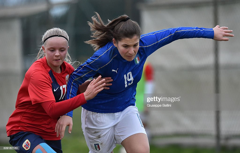Celine Nergard of Norway and Elena Genovese of Italy in action during the Women's U17 international friendly match between Italy and Norway on February 9, 2016 in Cervia, Italy.