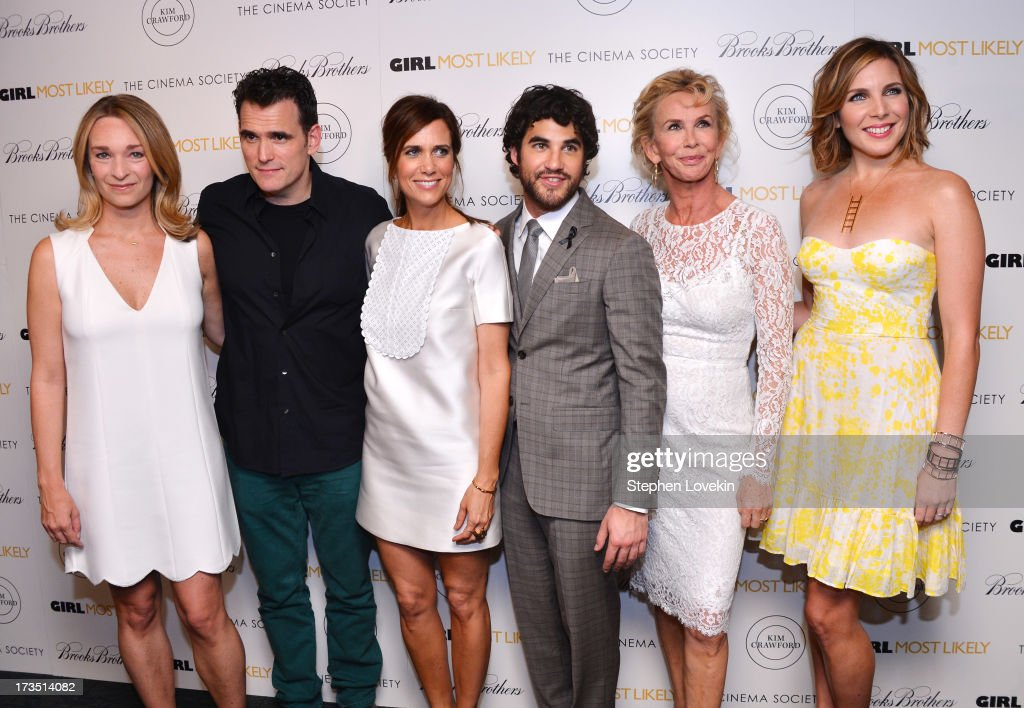 Celine Rattray, <a gi-track='captionPersonalityLinkClicked' href=/galleries/search?phrase=Matt+Dillon+-+Actor&family=editorial&specificpeople=202099 ng-click='$event.stopPropagation()'>Matt Dillon</a>, <a gi-track='captionPersonalityLinkClicked' href=/galleries/search?phrase=Kristen+Wiig&family=editorial&specificpeople=4029391 ng-click='$event.stopPropagation()'>Kristen Wiig</a>, <a gi-track='captionPersonalityLinkClicked' href=/galleries/search?phrase=Darren+Criss&family=editorial&specificpeople=7341435 ng-click='$event.stopPropagation()'>Darren Criss</a>, <a gi-track='captionPersonalityLinkClicked' href=/galleries/search?phrase=Trudie+Styler&family=editorial&specificpeople=203268 ng-click='$event.stopPropagation()'>Trudie Styler</a> and <a gi-track='captionPersonalityLinkClicked' href=/galleries/search?phrase=June+Diane+Raphael&family=editorial&specificpeople=5923890 ng-click='$event.stopPropagation()'>June Diane Raphael</a> attend the screening of Lionsgate and Roadside Attractions' 'Girl Most Likely' hosted by The Cinema Society & Brooks Brothers at Landmark's Sunshine Cinema on July 15, 2013 in New York City.