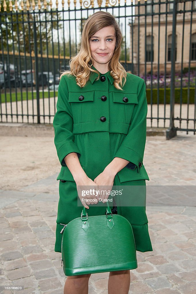 Celine Salette arrives at the Louis Vuitton Spring/Summer 2013 show as part of Paris Fashion Week on October 3, 2012 in Paris, France.
