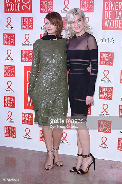 Celine Sallette and Cecile Cassel attend the Sidaction Gala Dinner 2016 as part of Paris Fashion Week on January 28 2016 in Paris France