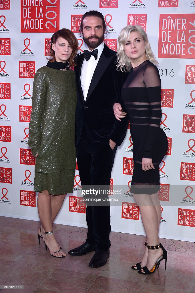 Celine Sallette John Nollet and Cecile Cassel attend the Sidaction Gala Dinner 2016 as part of Paris Fashion Week on January 28 2016 in Paris France