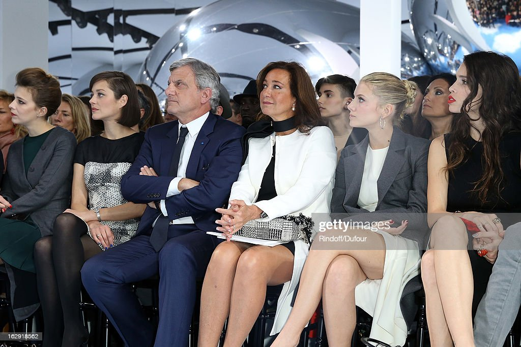 Celine Sallette, Marion Cotillard, Sidney Toledano, Christian Dior Couture President and CEO, Katia Toledano, Melanie Laurent, and Chelsea Tyler attend the Christian Dior Fall/Winter 2013 Ready-to-Wear show as part of Paris Fashion Week on March 1, 2013 in Paris, France.