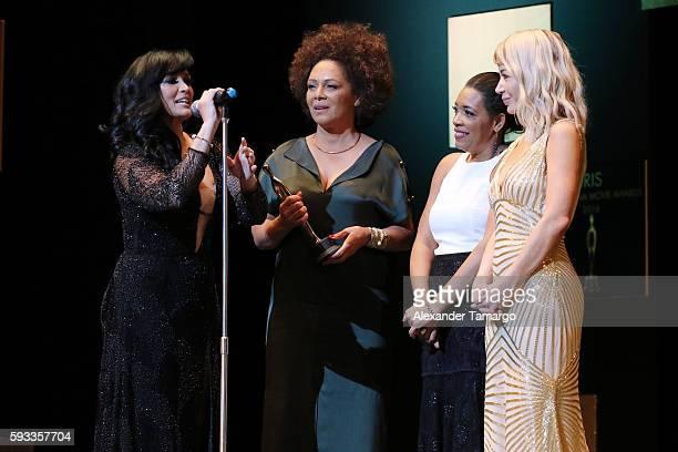 Celines Toribio Iris Peynado Julissa Rumaldo and Katherine Castro are seen at the IRIS Dominicana Movie Awards at the Teatro Nacional on August 21...