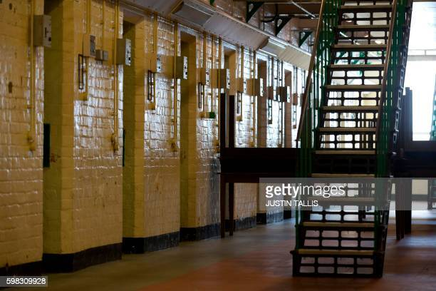 Cell doorways and a staircase are pictured inside Reading prison during an exhibition photocall at the prison in Reading west of London on September...
