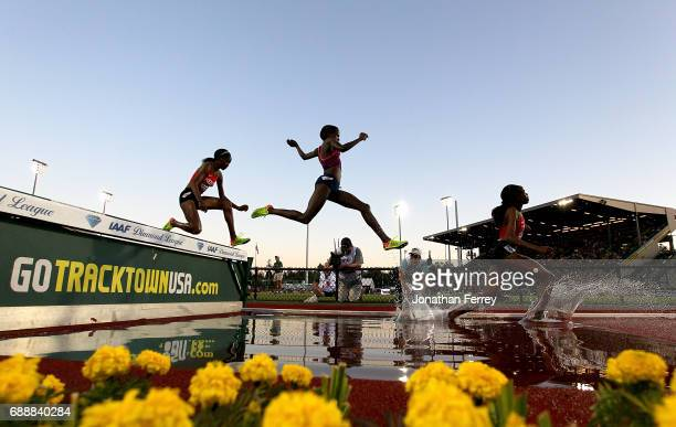 Celliphine Chepteek Chespol of Ethiopia jumps in the water pit during the 3000m Steeplechase during the 2017 Prefontaine Classic Diamond Leagueat...