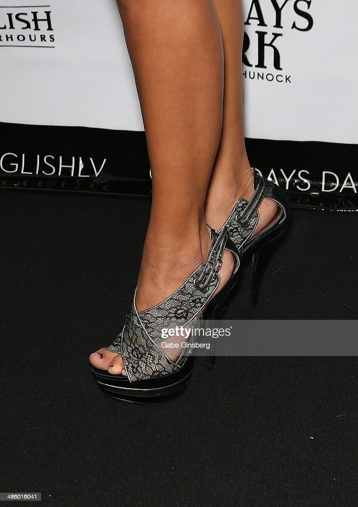 Cellist Ashley Korak (shoes detail) of Bella Electric Strings arrives at 'Mondays Dark With Mark Shunock' benefiting the Miracle League of Las Vegas featuring music from movie soundtracks at the Body English nightclub inside the Hard Rock Hotel & Casino on April 21, 2014 in Las Vegas, Nevada.