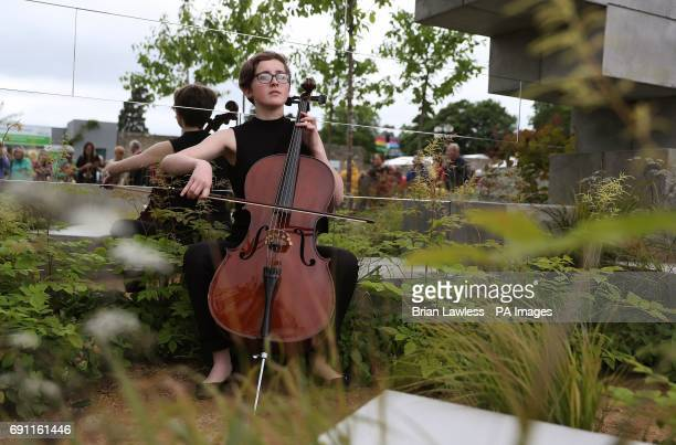 Cellist Beth Powell plays in the 'a World beyond Walls' garden at the Bloom festival in Dublin's Phoenix Park