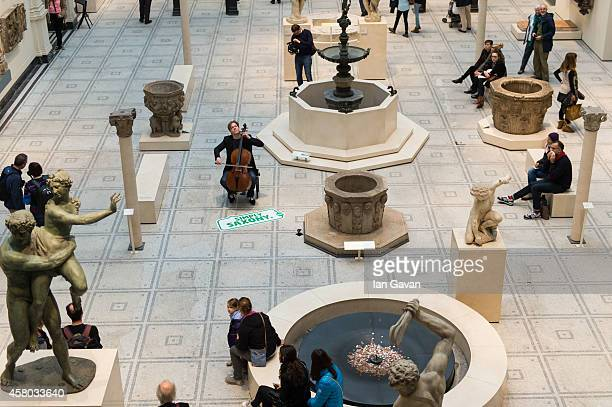 Cellist Jan Vogler performs during the Simply Saxony event in the Medieval and Renaissance Galleries at the Victoria and Albert Museum on October 29...