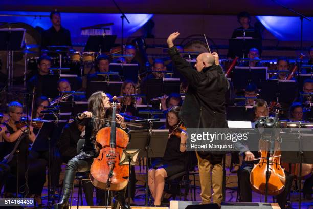 Cellist Maya Beiser and conductor Evan Ziporyn play the symphonic concert of David Bowie's 'Blackstar' album at the L'Auditori on July 13 2017 in...