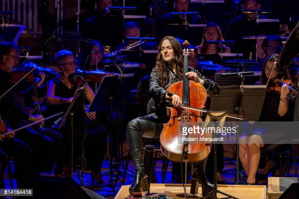 Cellist Maya Beiser plays the symphonic concert of David Bowie's 'Blackstar' album at the L'Auditori on July 13 2017 in Barcelona Spain
