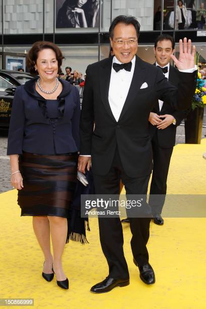Cellist YoYo Ma and his wife arrive for the Polar Music Prize at Konserthuset on August 28 2012 in Stockholm Sweden