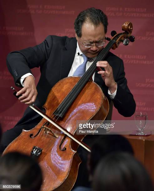 Cellist YoYo Ma performs prior to Klaus Schwab Founder and Executive Chairman of the World Economic Forum delivering the 2017 Malcolm Wiener Lecture...