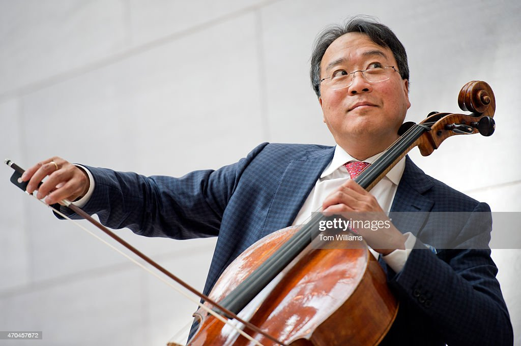 Cellist <a gi-track='captionPersonalityLinkClicked' href=/galleries/search?phrase=Yo-Yo+Ma&family=editorial&specificpeople=235395 ng-click='$event.stopPropagation()'>Yo-Yo Ma</a> plays in the National Gallery of Art's East Building after he participated in a panel discussion on the role of art in diplomacy, April 20, 2015.