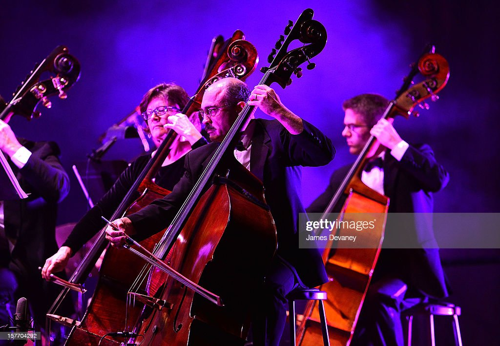 Cellists perform at the Andrea Bocelli concert at Barclays Center on December 5, 2012 in the Brooklyn borough of New York City.