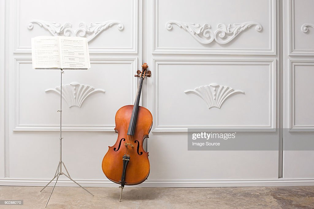Cello and music stand : Stock Photo