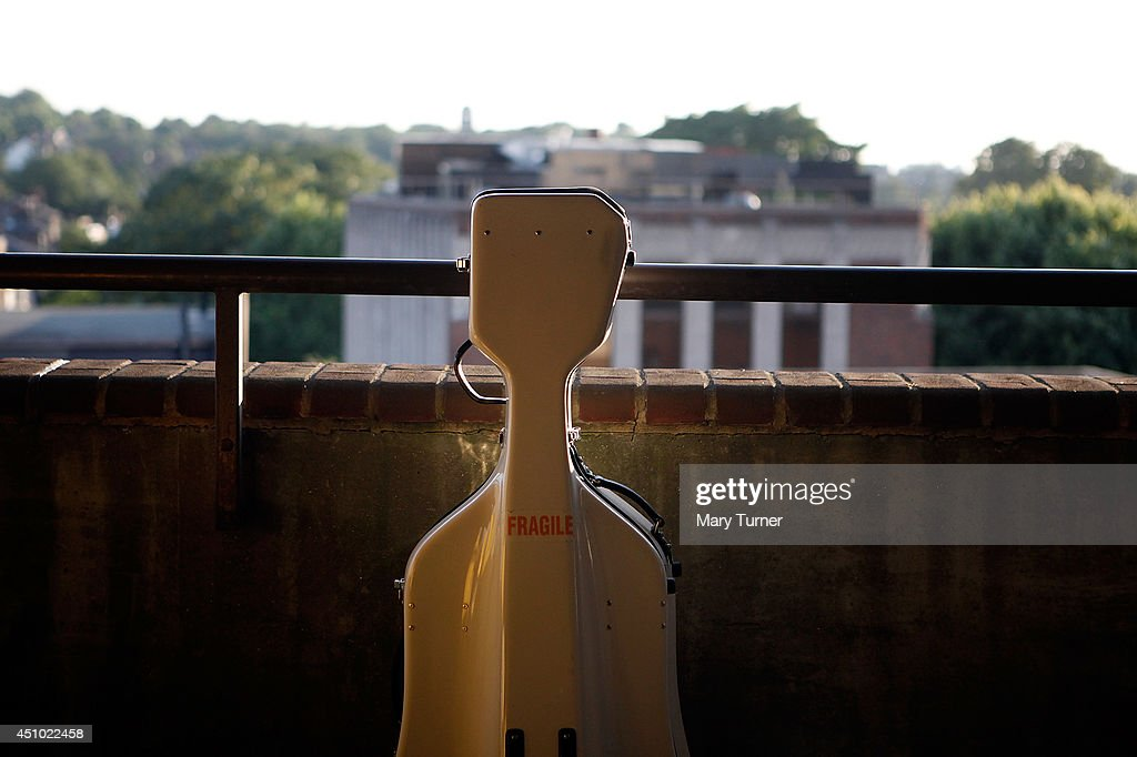 A cello case rests on the wall of Peckham Rye car park where the MultiStory Orchestra performed Jean Sibelius' 5th Symphony on June 21 2014 in London...