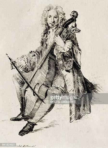 Cello player by Jean Antoine Watteau engraving France 18th century Paris Bibliothèque Des Arts Decoratifs