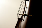 Close up of a cello and its strings
