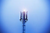 The top of an illuminated mobile phone tower  rises into the evening's indigo sky.