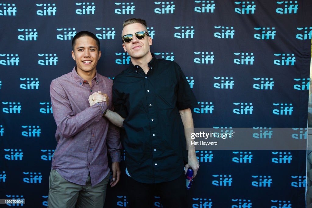 R Celski and Macklemore attend the world premiere of 'The Otherside' during the Seattle International Film Festival at SIFF Cinema Uptown on May 31...