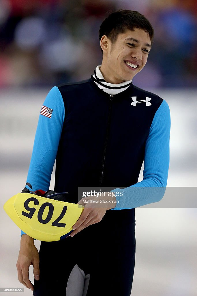 J. R. Celski #705 cools down after skating in the second men's 1,000 meter final during the U.S. Olympic Short Track Trials at the Utah Olympic Oval on January 5, 2014 in Salt Lake City, Utah.