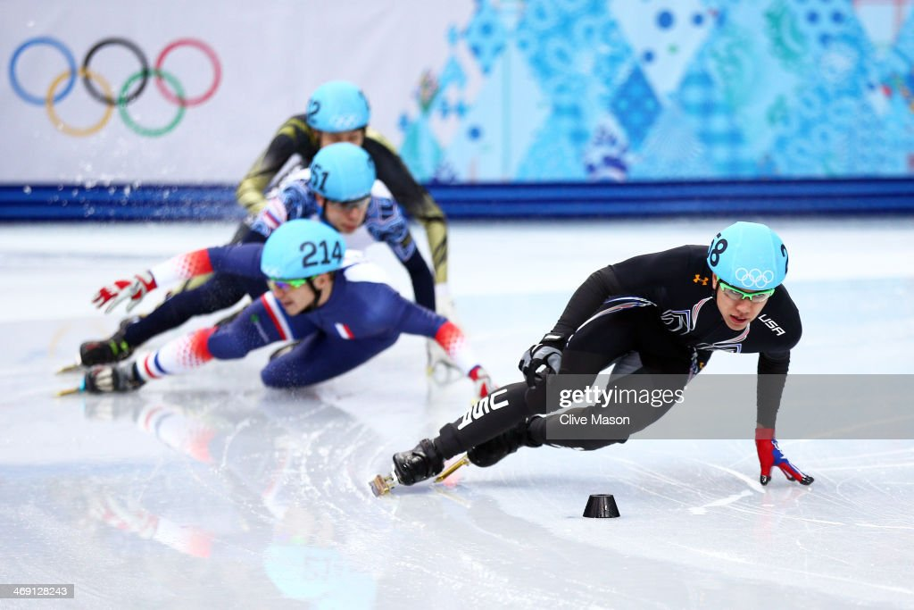 <a gi-track='captionPersonalityLinkClicked' href=/galleries/search?phrase=J.R.+Celski&family=editorial&specificpeople=5581262 ng-click='$event.stopPropagation()'>J.R. Celski</a> of the United States leads the pack as <a gi-track='captionPersonalityLinkClicked' href=/galleries/search?phrase=Maxime+Chataignier&family=editorial&specificpeople=504686 ng-click='$event.stopPropagation()'>Maxime Chataignier</a> of France, Semen Elistratov of Russia and <a gi-track='captionPersonalityLinkClicked' href=/galleries/search?phrase=Ryosuke+Sakazume&family=editorial&specificpeople=5629753 ng-click='$event.stopPropagation()'>Ryosuke Sakazume</a> of Japan collide compete in the Short Track Men's 1000 m Heat on day 6 of the Sochi 2014 Winter Olympics at at Iceberg Skating Palace on February 13, 2014 in Sochi, Russia.