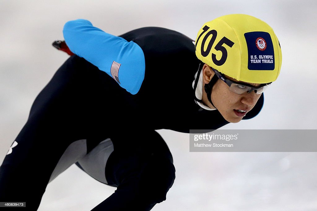 J. R. Celski #705 skates in the second men's 1,000 meter final during the U.S. Olympic Short Track Trials at the Utah Olympic Oval on January 5, 2014 in Salt Lake City, Utah.