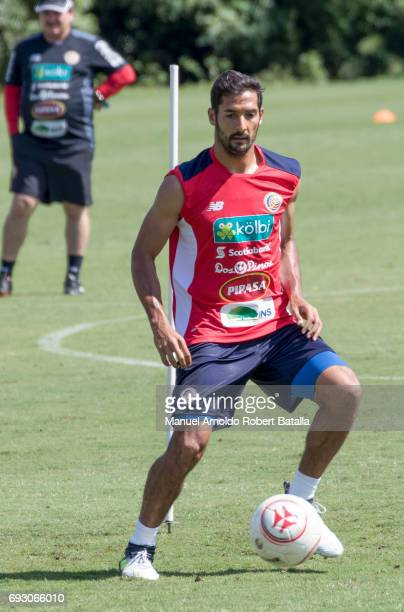 Celso Borges controls the ball during a training session at Complejo Deportivo FedefutbolPlycem on June 06 2017 in San Jose Costa Rica