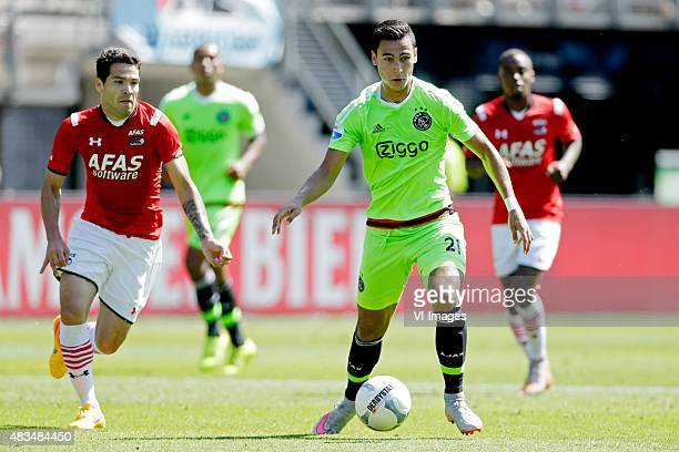 Celso Ortiz of AZ Alkmaar Anwar El Ghazi of Ajax during the Dutch Eredivisie match between AZ Alkmaar and Ajax Amsterdam at AFAS stadium on August 09...