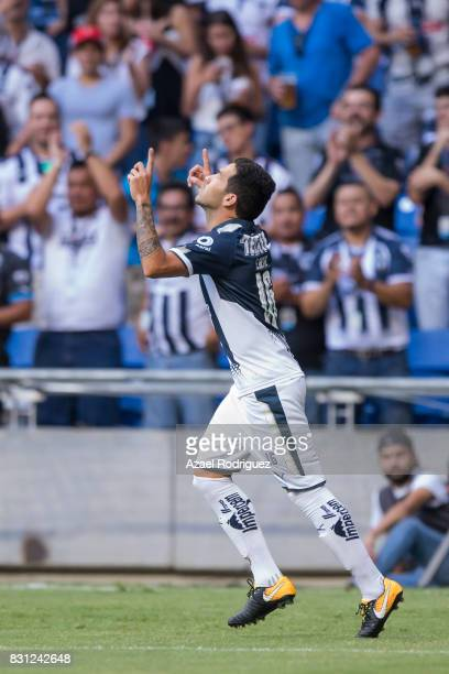 Celso Ortiz of Monterrey celebrates after scoring his team's first goal during the 4th round match between Monterrey and Chivas as part of the Torneo...