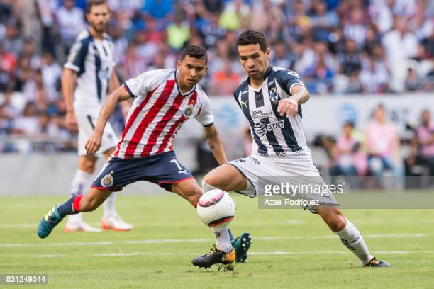 Celso Ortiz of Monterrey fights for the ball with Orbelin Pineda of Chivas during the 4th round match between Monterrey and Chivas as part of the...