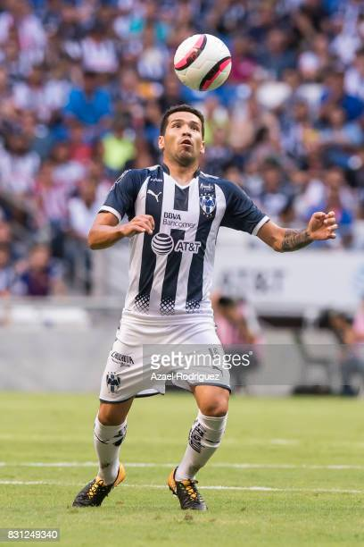 Celso Ortiz of Monterrey receives the ball during the 4th round match between Monterrey and Chivas as part of the Torneo Apertura 2017 Liga MX at...