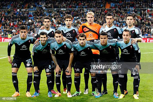 Celta de Vigo starting lineup for the La Liga match between Real Madrid and RC Celta de Vigo at Estadio Santiago Bernabeu on January 6 2014 in Madrid...