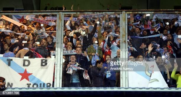 Celta Vigo fans during the UEFA Europa League quarter final second leg match between KRC Genk and Celta Vigo at Luminus Arena in Genk Belgium on...