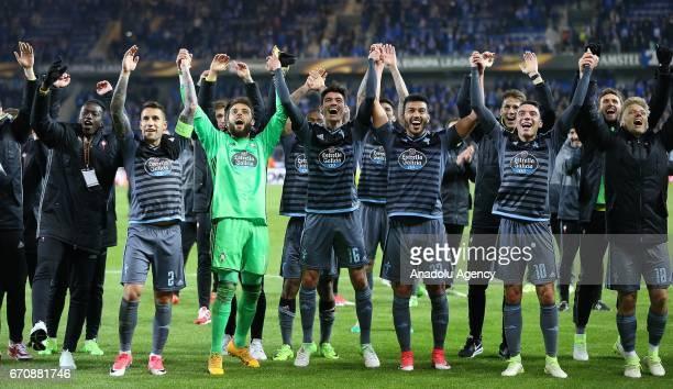 Celta Vigo players celebrate reaching semifinal after the UEFA Europa League quarter final second leg match between KRC Genk and Celta Vigo at...