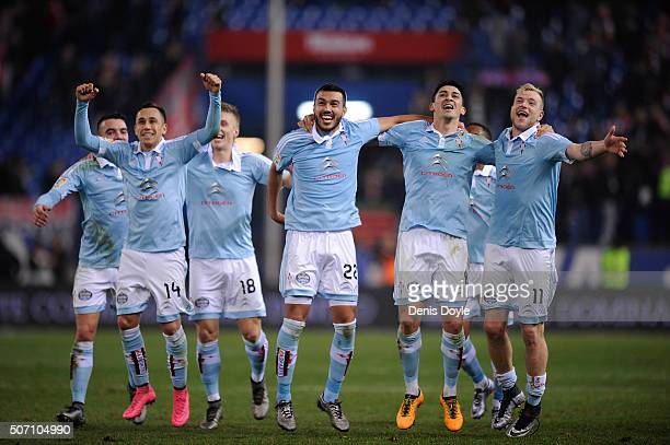 Celta Vigo players John Guidetti Fabian Orellana Gustavo Cabral and Pablo Hernandez after Celta beat Club Atletico de Madrid 32 in the Copa del Rey...