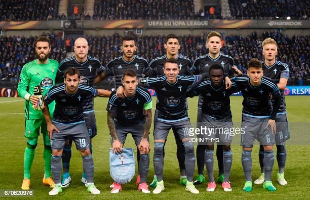 Celta Vigo team players pose during the UEFA Europa League quarter final match between KRC Genk and Celta Vigo at the Fenix Stadium in Genk on April...