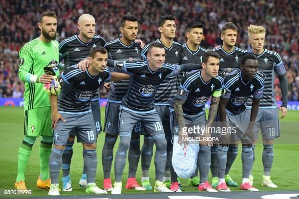 Celta Vigo team pose for a group photograph Celta Vigo's Spanish goalkeeper Sergio Alvarez Celta Vigo's Swedish striker John Guidetti Celta Vigo's...