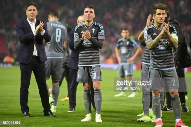 Celta Vigo's Argentinian coach Eduardo Berizzo Celta Vigo's Spanish striker Iago Aspas and Celta Vigo's Spanish defender Hugo Mallo react on the...