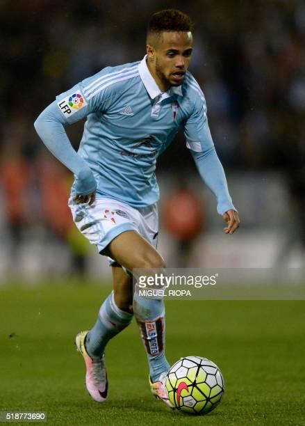 Celta Vigo's Belgian forward Theo Bongonda controls the ball during the Spanish league football match RC Celta de Vigo vs RC Deportivo at the...
